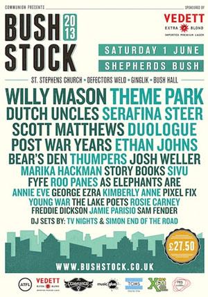 Bushstock 2013 Announce Final Lineup Theme Park, Dutch Uncles Plus Many More..