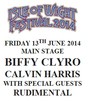 Calvin Harris And Biffy Clyro Announced For The Isle Of Wight Festival 2014