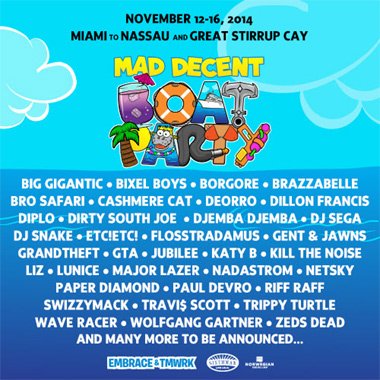 Major Lazer Announces Headline Slot On The Mad Decent Boat Party 12th-16th November 2014
