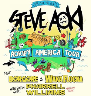 Steve Aoki Announces Aokify America Tour Featuring Borgore And Pharrell Williams On Select Dates