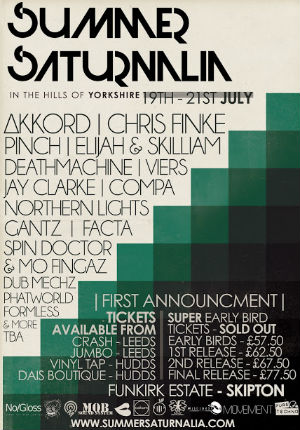 Summer Saturnalia Festival Announce First Acts In The 2013 Line-Up Including Pinch, Akkord and Chris Finke