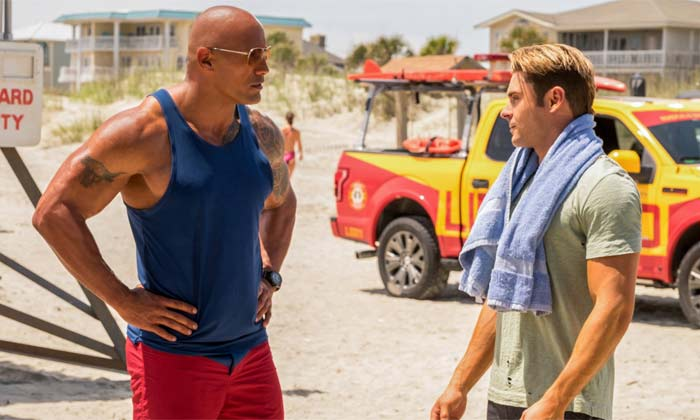 The Rock and Zac Efron on the Baywatch set