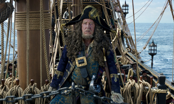 Captain Barbossa in Pirates of the Caribbean
