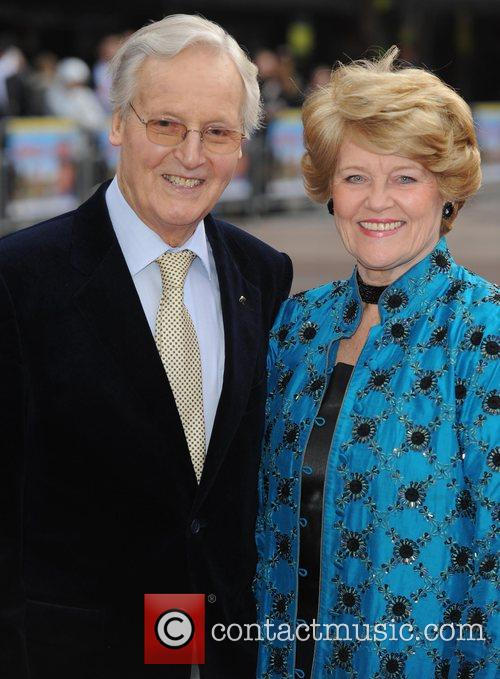 Nicholas Parsons and his wife at the premiere...