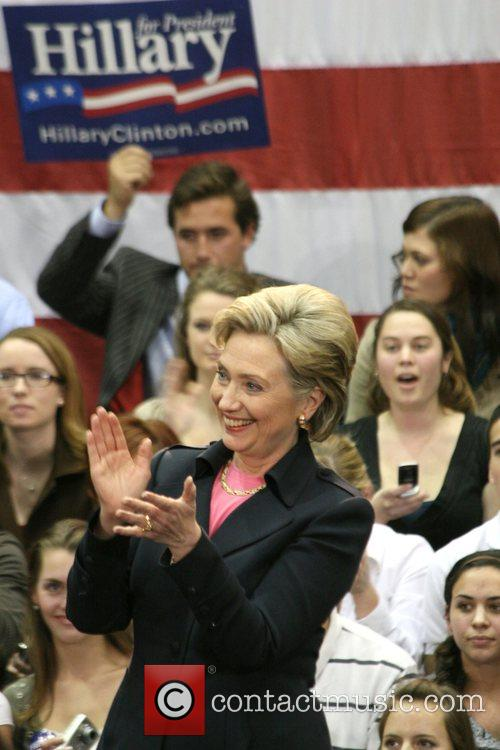 Presidential hopeful Hillary Clinton speaks to students at...