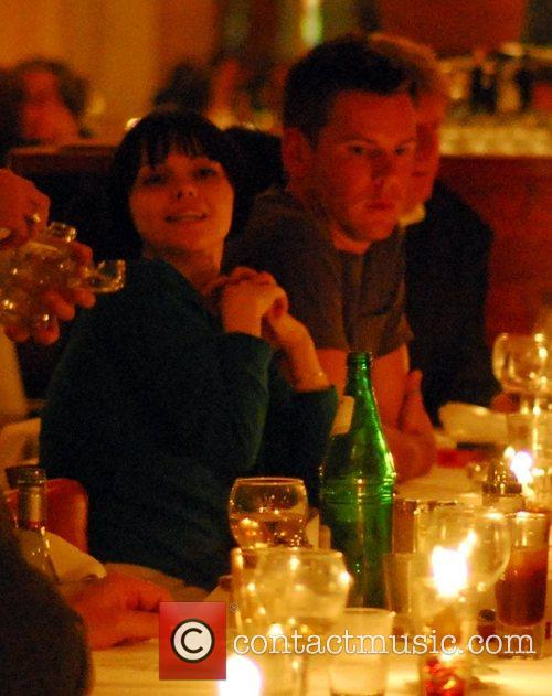 Christina Ricci and co-stars enjoying dinner at the...