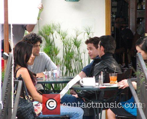 Adrian Grenier and Kevin Connolly on the set...