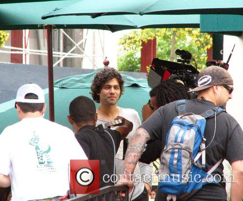 Adrian Grenier on the set of his show...