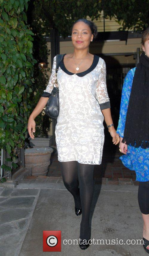 Sanaa Lathan leaving Ago restaurant Los Angeles, California