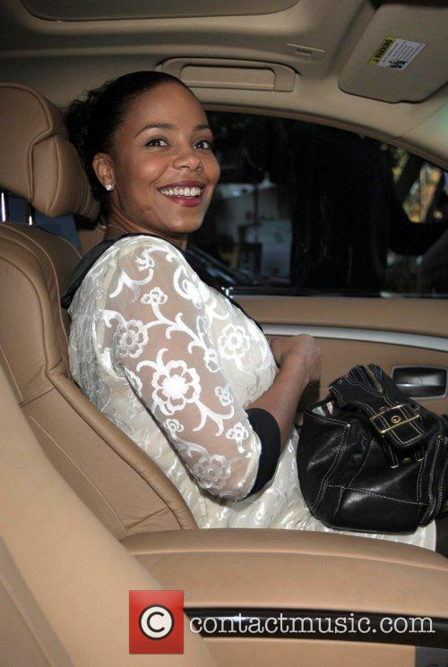 Sanaa Lathan leaving Ago restaurant after attending a...