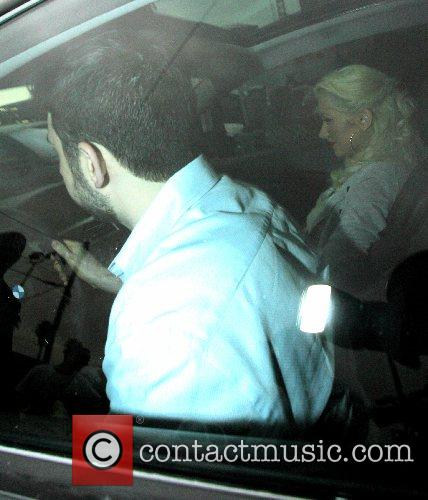 Jordan Bratman and Christina Aguilera leaving from a...