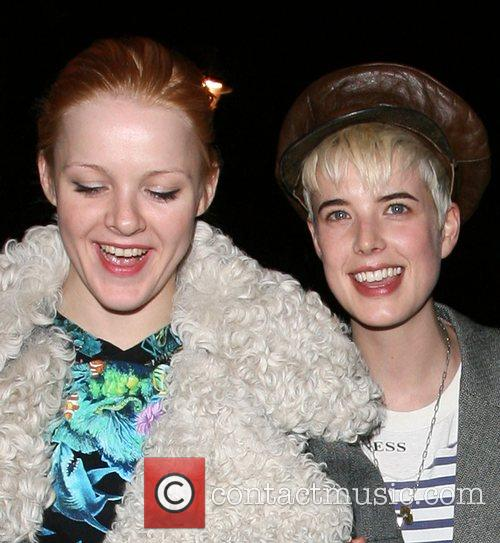 Agyness Deyn and a friend leaving Mulberry Space...