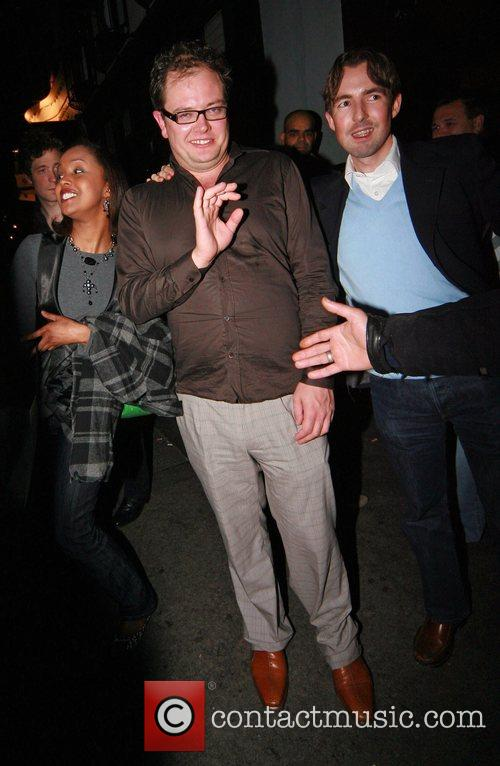 Alan Carr leaving the Groucho club