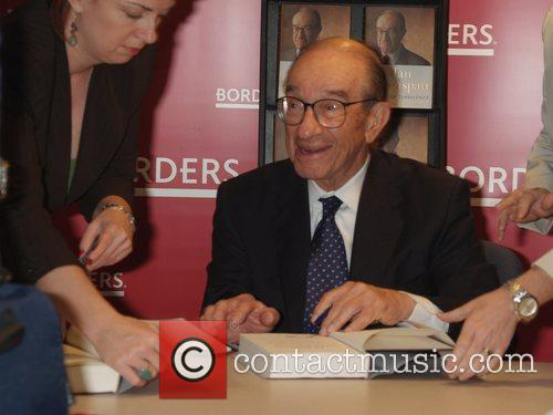 Alan Greenspan signing for his book 'The Age...