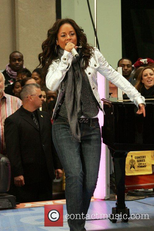 Alicia Keys performing on the 'Today Show' New...