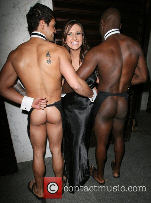 Amy Alexandra poses with male models outside Embassy...