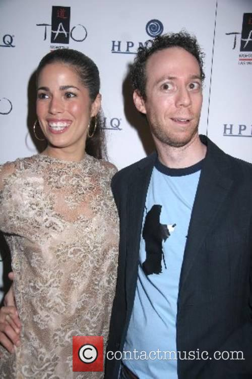 Ana Ortiz with Kevin Sussman holds her Bachelorette...