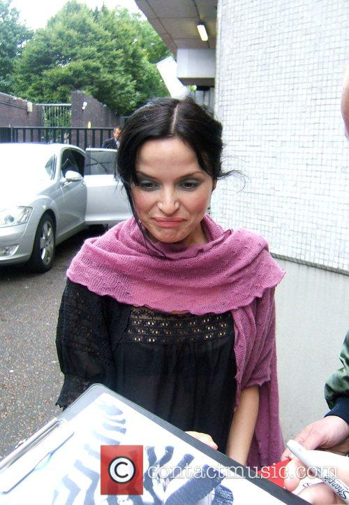 Andrea Corr leaving a London Studio and signing...
