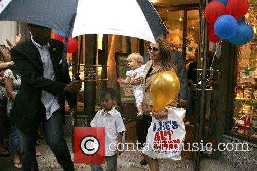 Angelina Jolie and family shopping for a Father's...