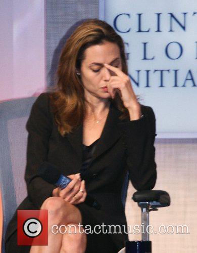 Angelina Joli speaks at Bill Clintons Global Initiative...