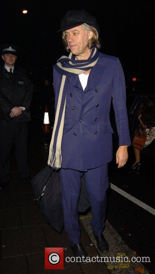 Bod Geldof leaving Annabel's night club London, England