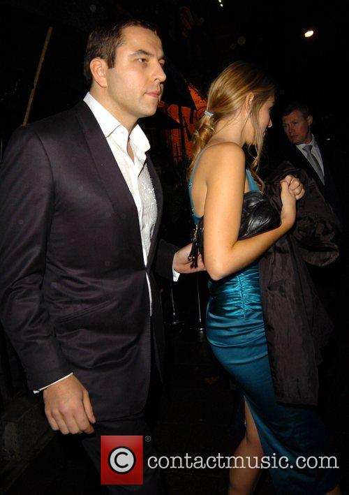 David Walliams and Keeley Hazell leaving Annabel's night...