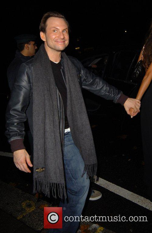 Christian Slater leaving Annabel's night club London, England