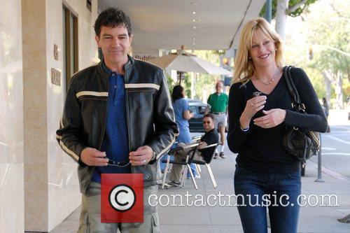 Antonio Banderas and Melanie Griffith leaving a sushi...