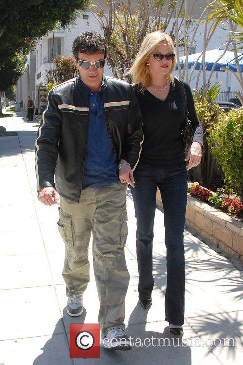 Antonio Banderas and Melanie Griffith leaving a sushi...