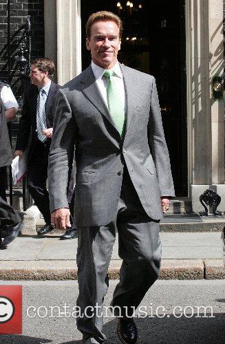 Arnold Schwarzenegger  leaving 10 Downing street after...