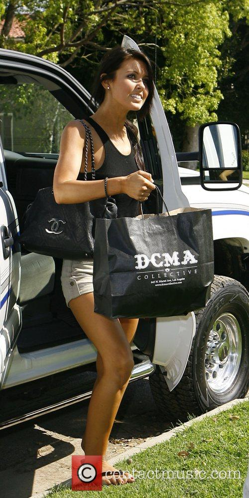 Audrina Partridge arriving home after shopping with her...