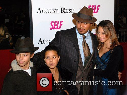 Terrence Howard and family Premiere of 'August Rush'...