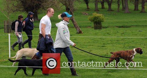 Mike Tindall walks with his girlfriend Zara Phillips...