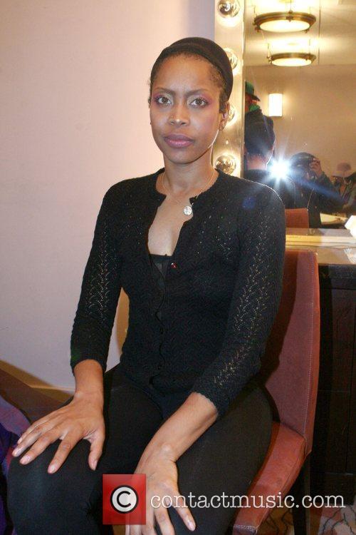 Erykah Badu in her dressing room before taking...