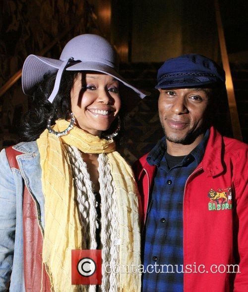 Joy and Mos Def backstage at Erykah Badu's...
