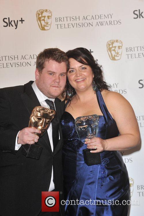 James Corden and Ruth Jones  with the...