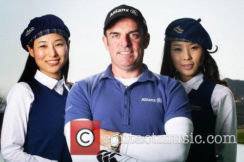 Paul McGinley with two Ballantine's Hostess's The Ballentine...