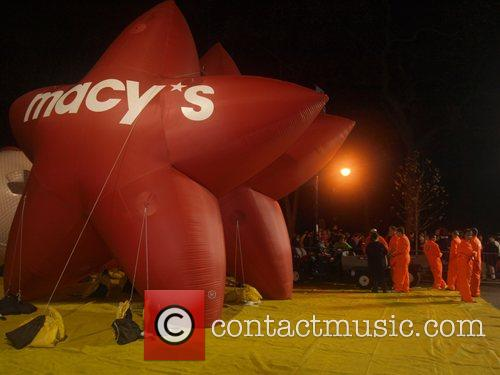 Macy's Thanksgiving Day Parade Balloon Inflation preparations on...