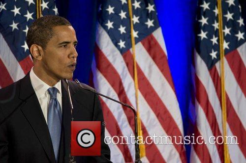 Senator Barack Obama speaking at the National Constitution...