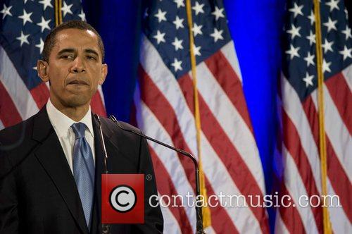 Senator Barack Obama speaking at the National Constitution...