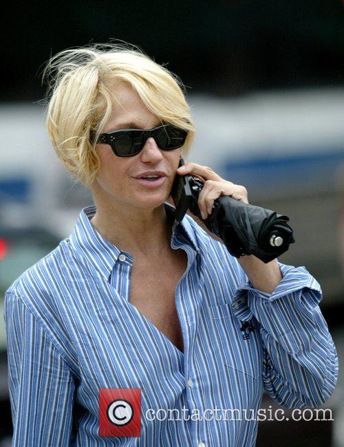 Actress Ellen Barken walks her dog on White...