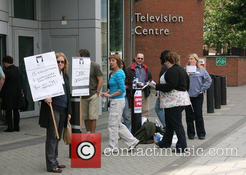 Atmosphere Protesters outside BBC Television Centre. 15 people...