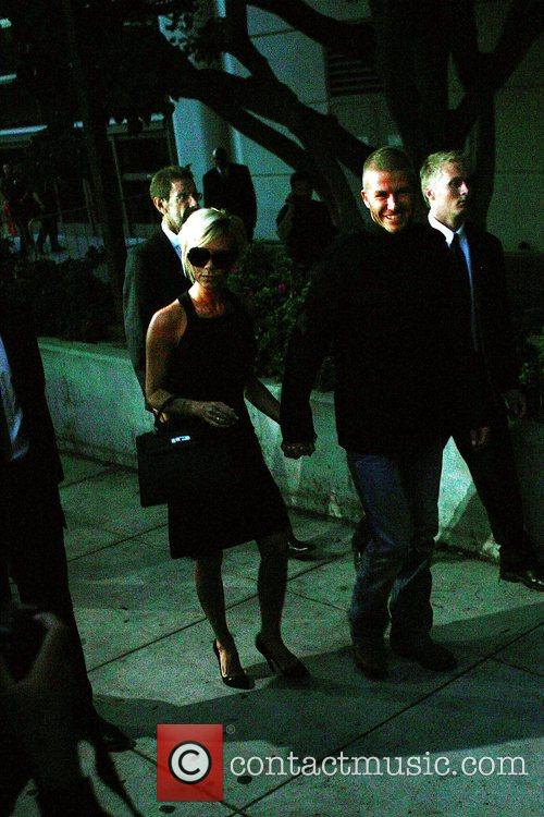 Atmosphere David Beckham and Victoria Beckham arrive in...