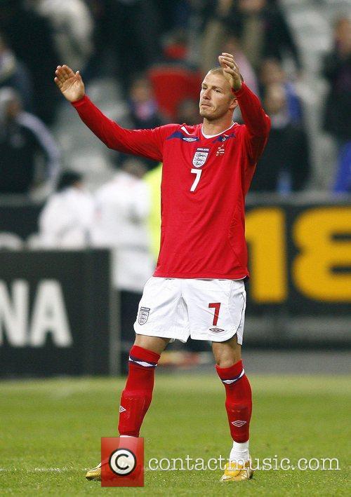 David Beckham during France v England - International...