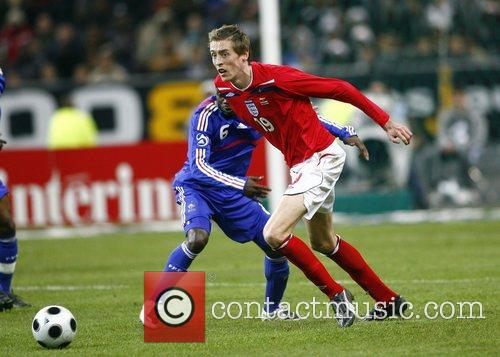 Peter Crouch in action during France v England...