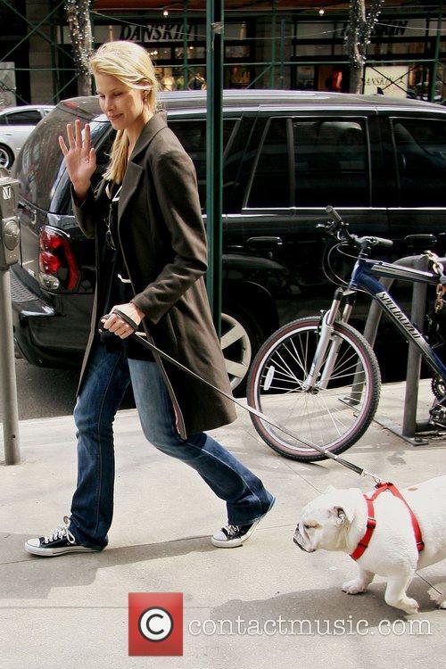 Beth Ostrosky walks her dog Beyonce