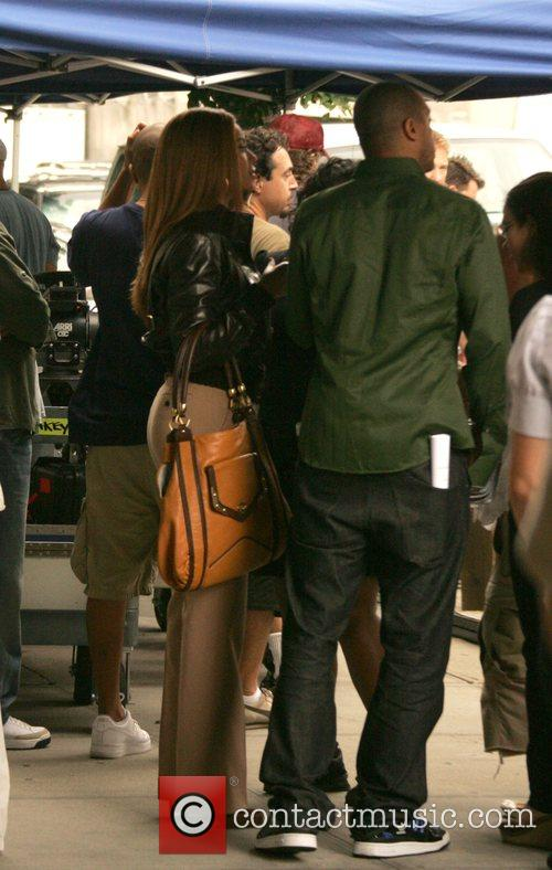 Beyonce Knowles filming the new American Express commercial