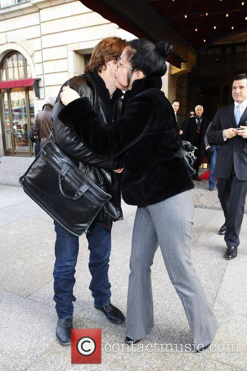 Willem Dafoe and guest outside Adlon Hotel at...