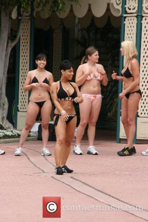 Bikini Girls Bikini Beach Mile Workout and Press...