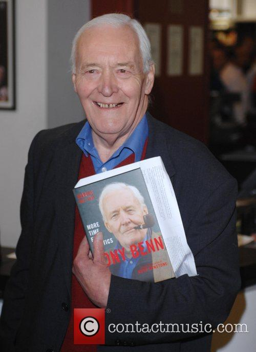 Tony Benn at the former President's book signing...